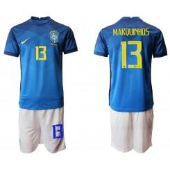 Brazil National Soccer Team 13 MARQUINHOS Away Jersey