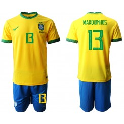 Brazil National Soccer Team 13 MARQUINHOS Home Jersey