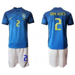 Brazil National Soccer Team 2 DANI ALVES Away Jersey