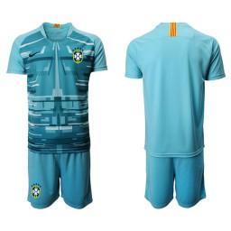 Youth Brazil National Soccer Team Blue Goalkeeper Jersey