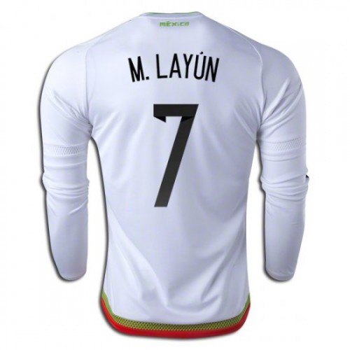 664153ce3c7 Mexico National Soccer Team #7 Miguel Layun Long Sleeve Away Jersey 2016