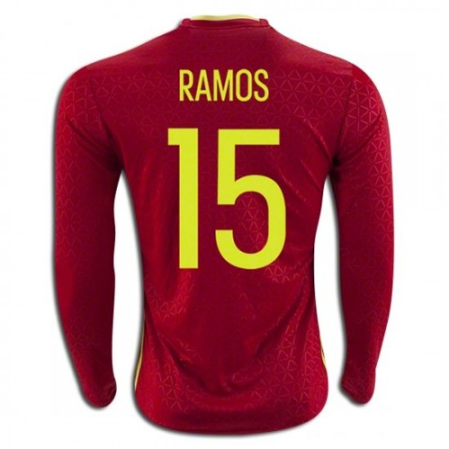 1fba50f09 Spain National Soccer Team  15 Sergio Ramos Long Sleeve Home Jersey 2016