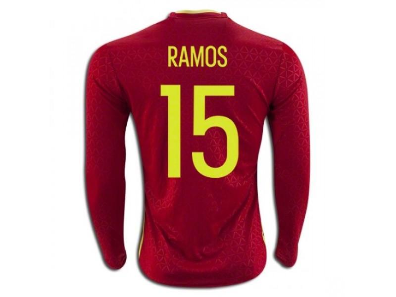 hot sale online a1d5b 6b438 Spain #15 Sergio Ramos Long Sleeve Home Football Shirt 2016