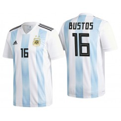 Argentina #16 Fabricio Bustos White-Blue National Soccer 2018 World Cup Authentic Jersey