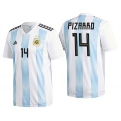 Argentina #14 Guido Pizarro White-Blue National Soccer 2018 World Cup Authentic Jersey