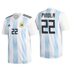 Argentina #22 Javier Pinola White-Blue National Soccer 2018 World Cup Authentic Jersey