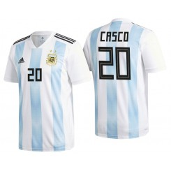 Argentina #20 Milton Casco White-Blue National Soccer 2018 World Cup Authentic Jersey