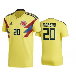 Colombia #20 Giovanni Moreno Yellow National Soccer 2018 World Cup Authentic Jersey