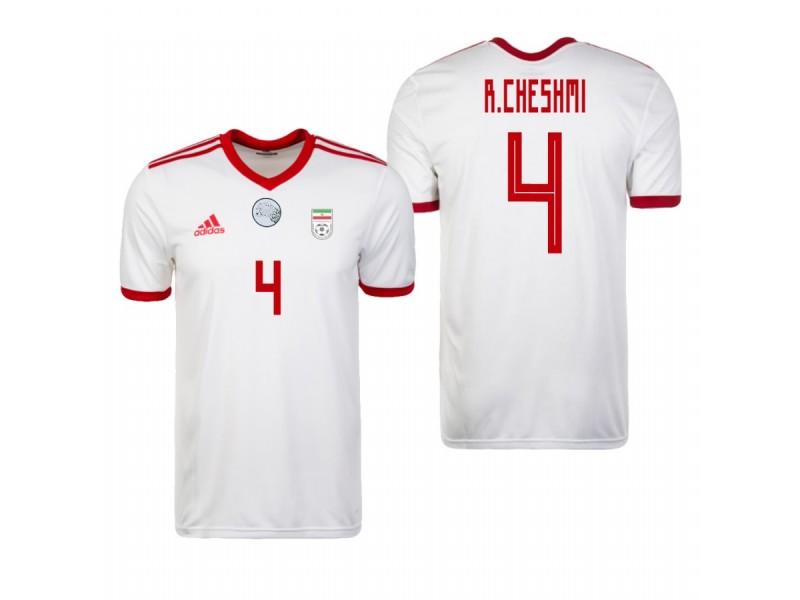 detailed look e9538 e4b37 Iran National Soccer 2018 World Cup White #4 Rouzbeh Cheshmi ...