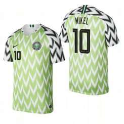 Nigeria National Soccer 2018 World Cup Bright Green #10 John Obi Mikel Authentic Jersey