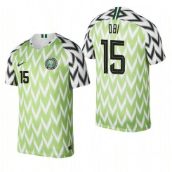 Nigeria National Soccer 2018 World Cup Bright Green #15 Joel Obi Authentic Jersey