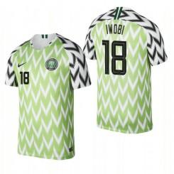 Nigeria National Soccer 2018 World Cup Bright Green #18 Alex Iwobi Authentic Jersey