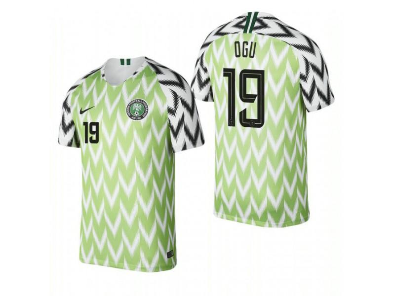 wholesale dealer 6a9a9 aa5fc Nigeria National Soccer 2018 World Cup Bright Green #19 John ...