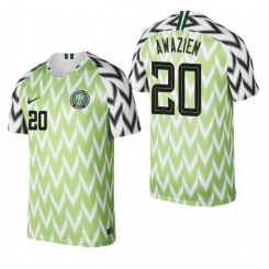 Nigeria National Soccer 2018 World Cup Bright Green #20 Chidozie Awaziem Authentic Jersey