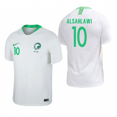 Saudi Arabia National Soccer 2018 World Cup White #10 Mohammad Al-Sahlawi Authentic Jersey
