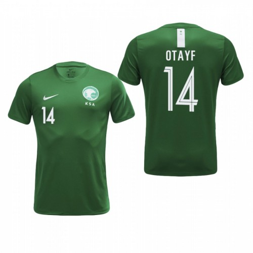 Saudi Arabia National Soccer 2018 World Cup Green #14 Abdullah Otayf Authentic Jersey