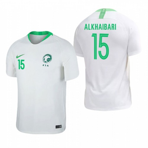 Saudi Arabia National Soccer 2018 World Cup White #15 Abdullah Al-Khaibari Replica Jersey