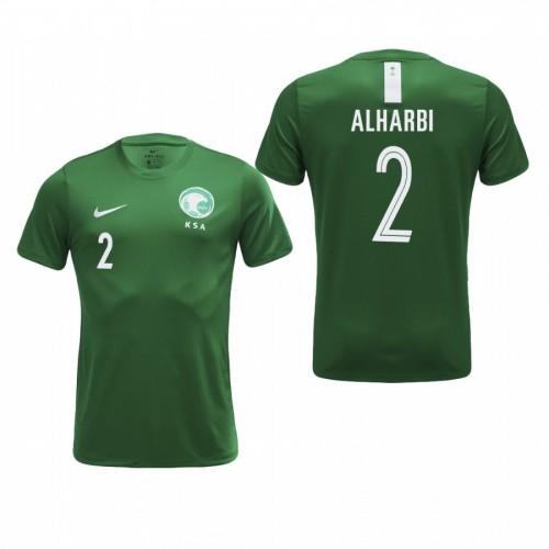 Saudi Arabia National Soccer 2018 World Cup Green #2 Mansoor Al-Harbi Authentic Jersey