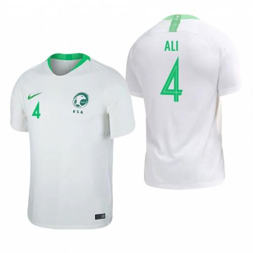 Saudi Arabia National Soccer 2018 World Cup White #4 Ali Al Bulaihi Replica Jersey