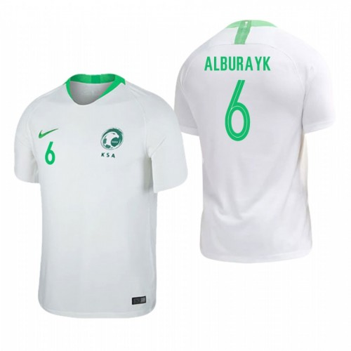 Saudi Arabia National Soccer 2018 World Cup White #6 Mohammed Al-Breik Replica Jersey