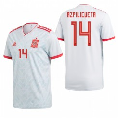 Spain National Soccer 2018 World Cup Light Blue #14 César Azpilicueta Authentic Jersey