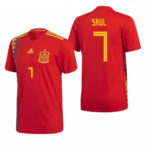 Spain National Soccer 2018 World Cup Red #7 Saúl Replica Jersey