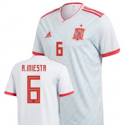 Spain National Soccer 2018 World Cup Light Blue #6 Andrés Iniesta Replica Jersey
