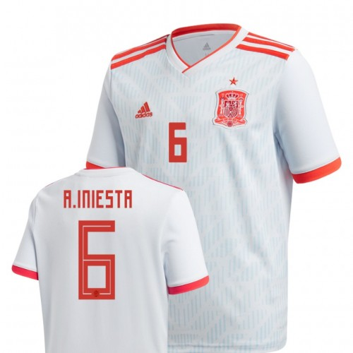 Youth Spain National Soccer 2018 World Cup Light Blue #6 Andrés Iniesta Authentic Jersey