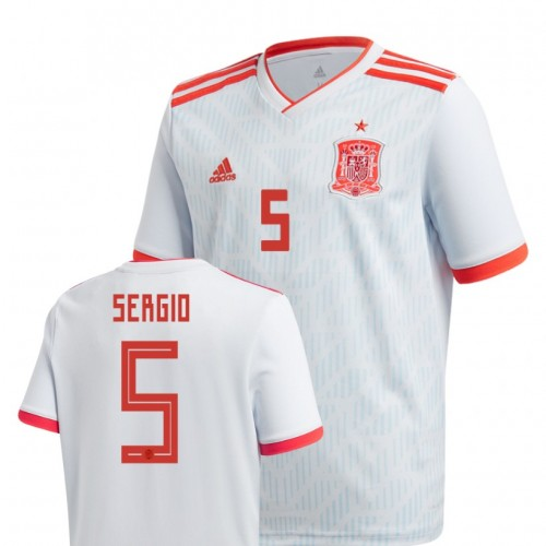 Youth Spain National Soccer 2018 World Cup Light Blue #5 Sergio Busquets Replica Jersey
